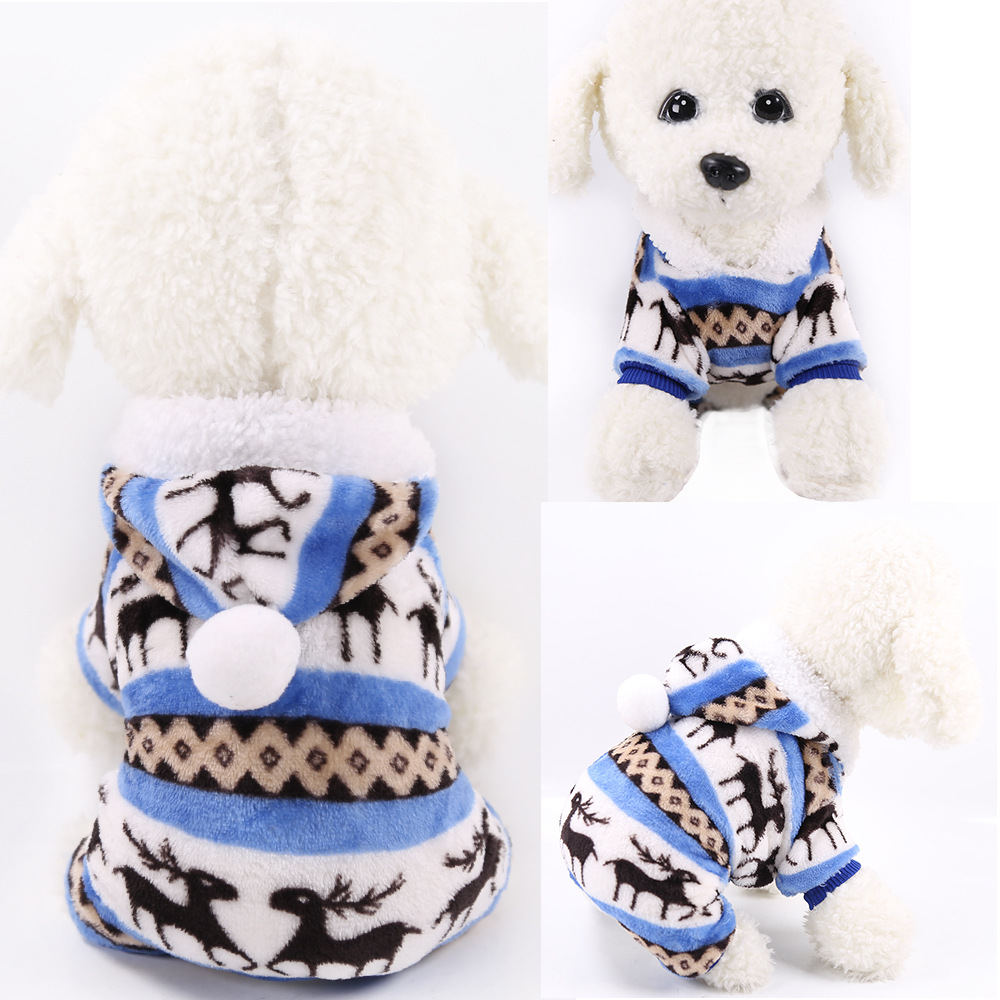 Dog Clothes Pajamas Jumpsuit Winter Pet Clothes Puppy Hoodies Fleece legs Warm Dog Clothing Outfit Small Dog Costume Apparel 19