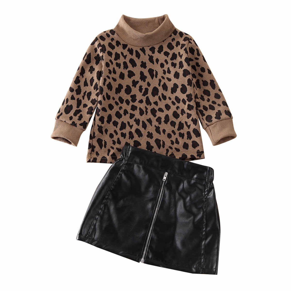 2020 Fashion Toddler Baby Girl Kid Leopard Sweater Tops+Cortical Mini Skirt Outfit Autumn Winter Girl Clothes Set
