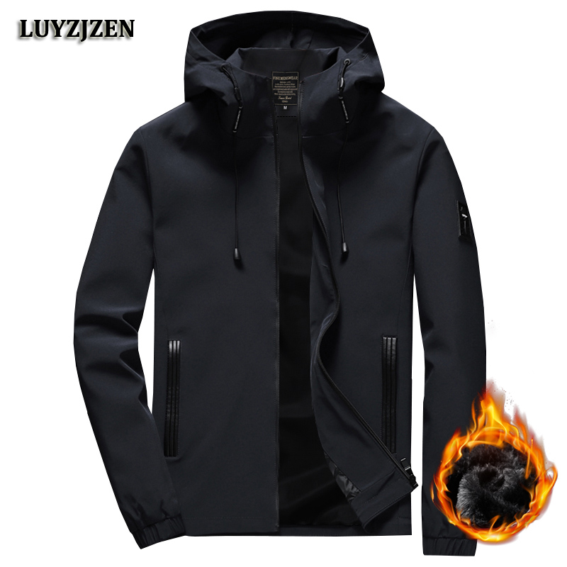 M-8XL Autumn Winter Men's Jacket Slim Fit Jackets Casual Coat Mens Brand Clothing Thick Solid Coats Hooded Outerwear Male K11