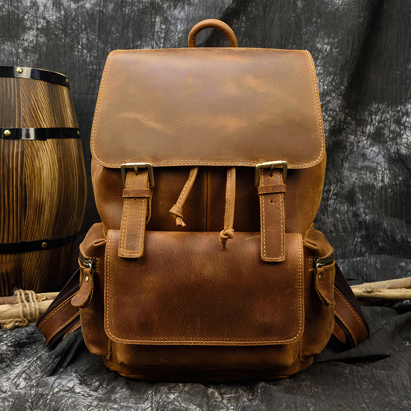 MAHEU Casual Men Genuine Leather Backpack Crazy Horse Leather Vintage Style Travel Bagpack School Bag Leather Daypay Man Women