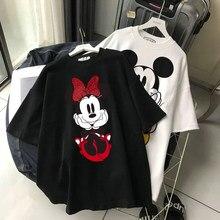 Disney Frauen T-shirt Harajuku Nette Mickey Maus Cartoon Print Pullover Grafik Top T Shirts Streetwear Tops Kpop Paare Passenden