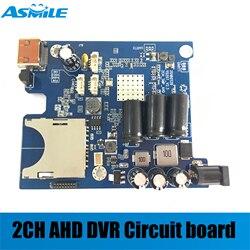 2019 HD 1080P w czasie rzeczywistym 2CH AHD DVR płytki PCB Mini pojazdu rejestrator mobilny pokładzie wsparcie 128GB karta sd z pilot zdalnego sterowania