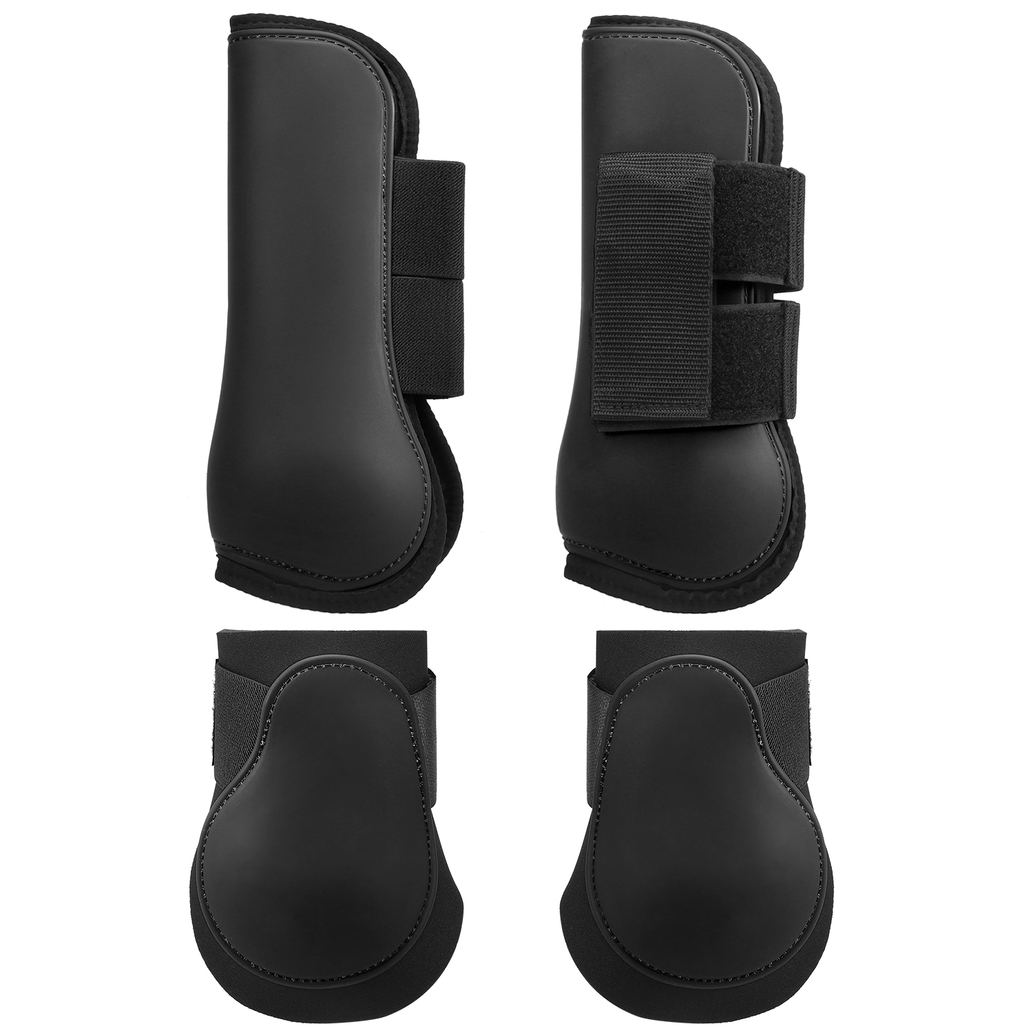 Adjustable Horse Leg Boots Set Equine Front Leg Guard Hind Boots Neoprene Horse Hock Protectors Equestrian Equipment