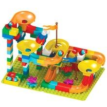 Большой размер Воронка слайд блоки мраморный гоночный лабиринт, Шариковая дорожка строительные блоки DIY собрать Кирпичи игрушки для детей Подарки