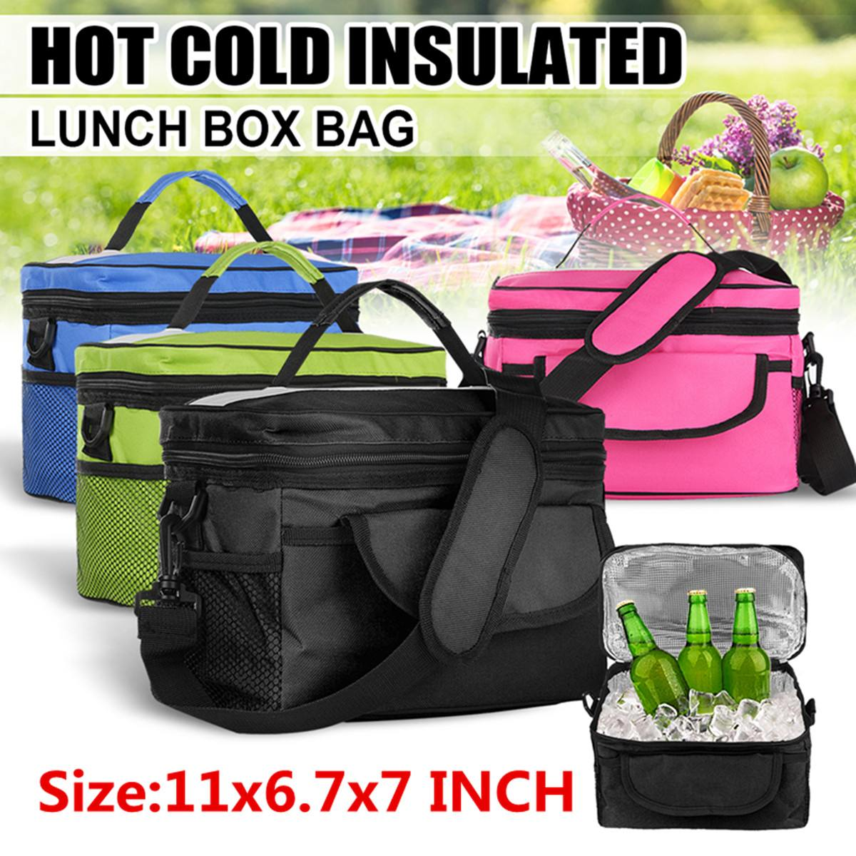 8L Oxford Insulated Thermal Cooler Lunch Box Bag Backpack Picnic Bag Food Thermal Bag for Outdoor Camping Travel 28x17x18cm image