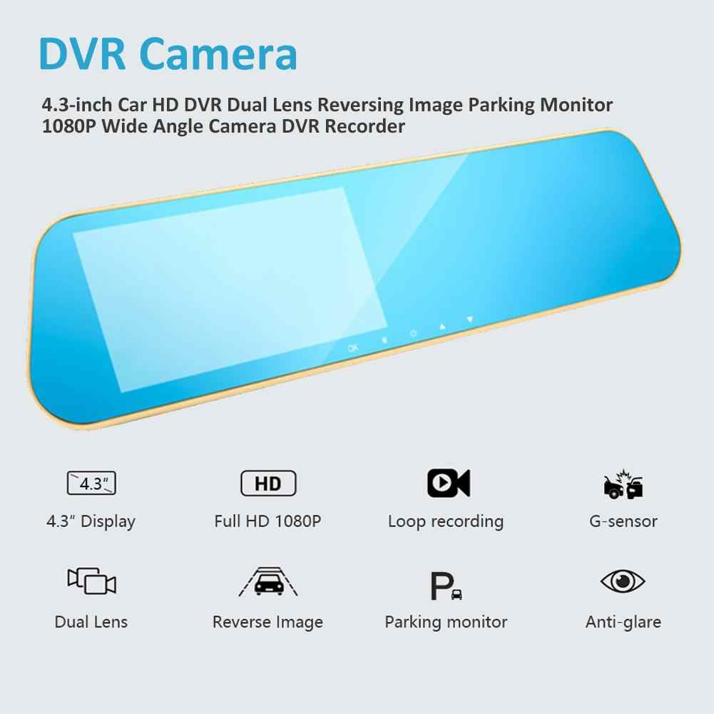 """4,3 """"Car HD DVR Dash Cam de doble lente de inversión de imagen g-sensor de aparcamiento Monitor de gran angular Cámara DVR grabador de coche accesorios"""
