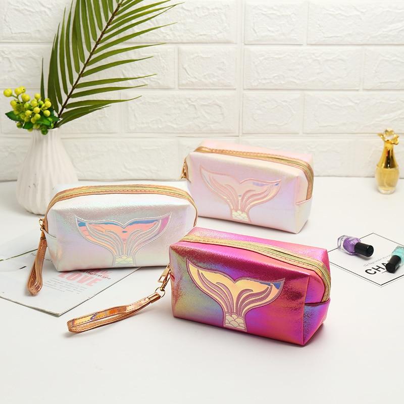 Travel Makeup Case Organizer Organize Bags  Pu Leather Laser Makeup Bag Colorful Mermaid Tail Cosmetic Bag Make Up Bag Fashion