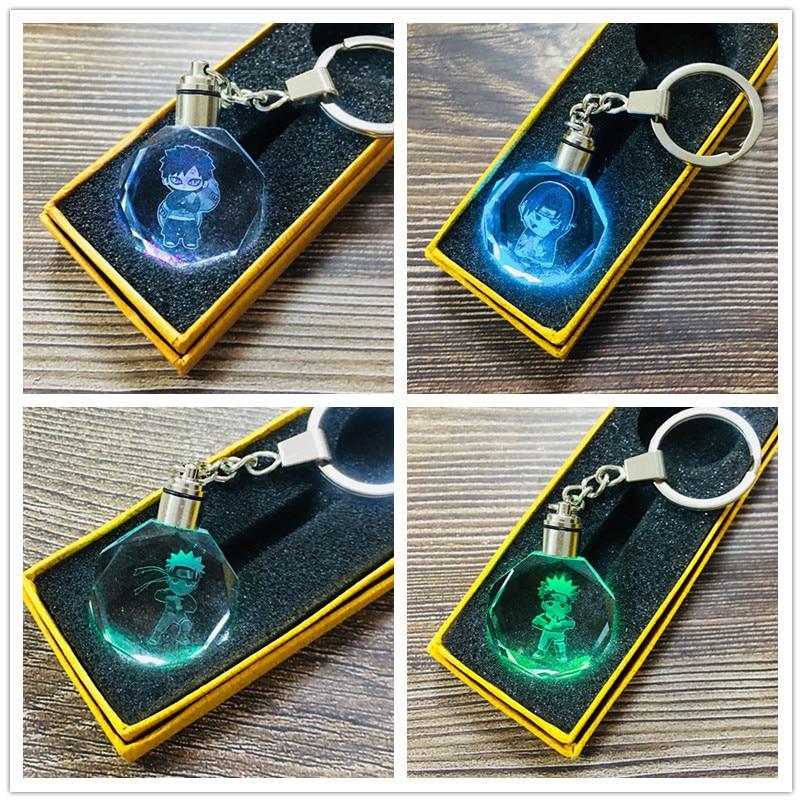 NARUTO Keychain Key Chains Cute LED Crystal Light Key Chain Ring Doll Bag Pendant Men Women Unisex Keychain Ring Christmas Gifts