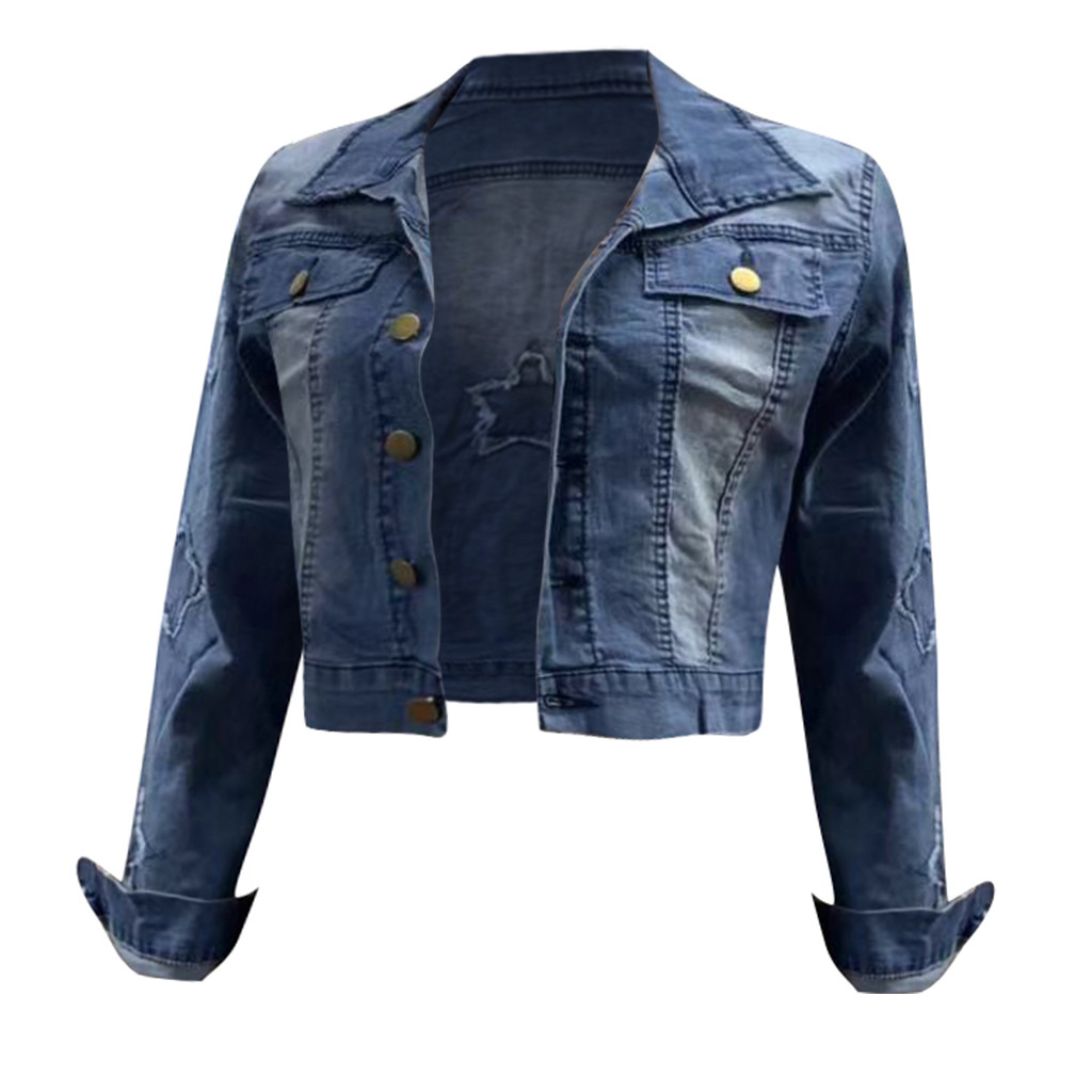 H42b091853ef64dbcb7dfa6f15f6277d3D 2019 Autumn And Winter Women Denim Jacket Vintage Cropped Short Denim Coat Long-sleeve Slim Jeans Coat For Women#J30