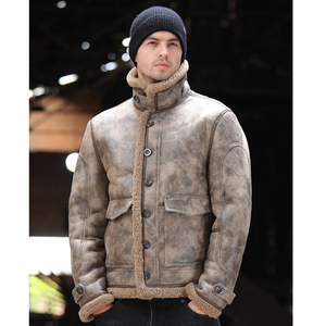 Image 2 - Thicken Real Sheepskin Coat Men Winter Warm Brown Fur Clothing 2019 New Genuine Leather Natural Sheepskin Leather Outwear