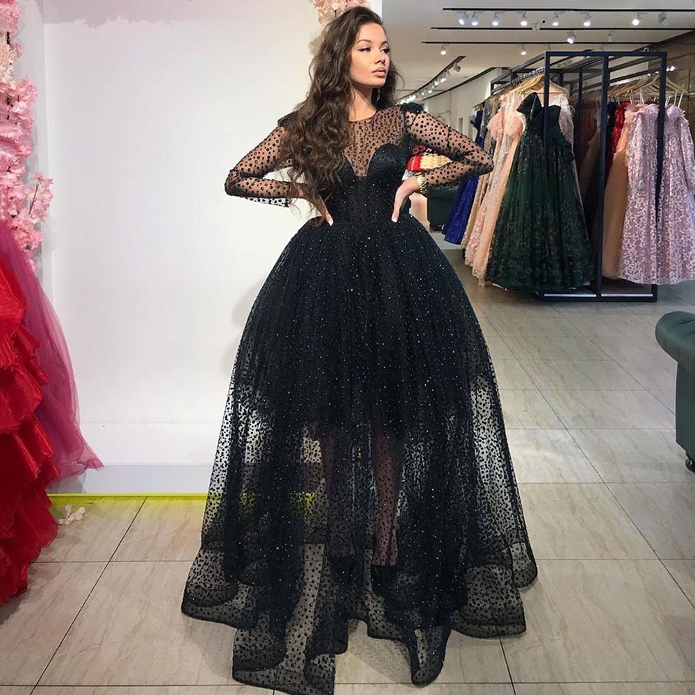 Eightree Sequined Long Sleeves Prom Dresses Sheer Jewel Neck ...