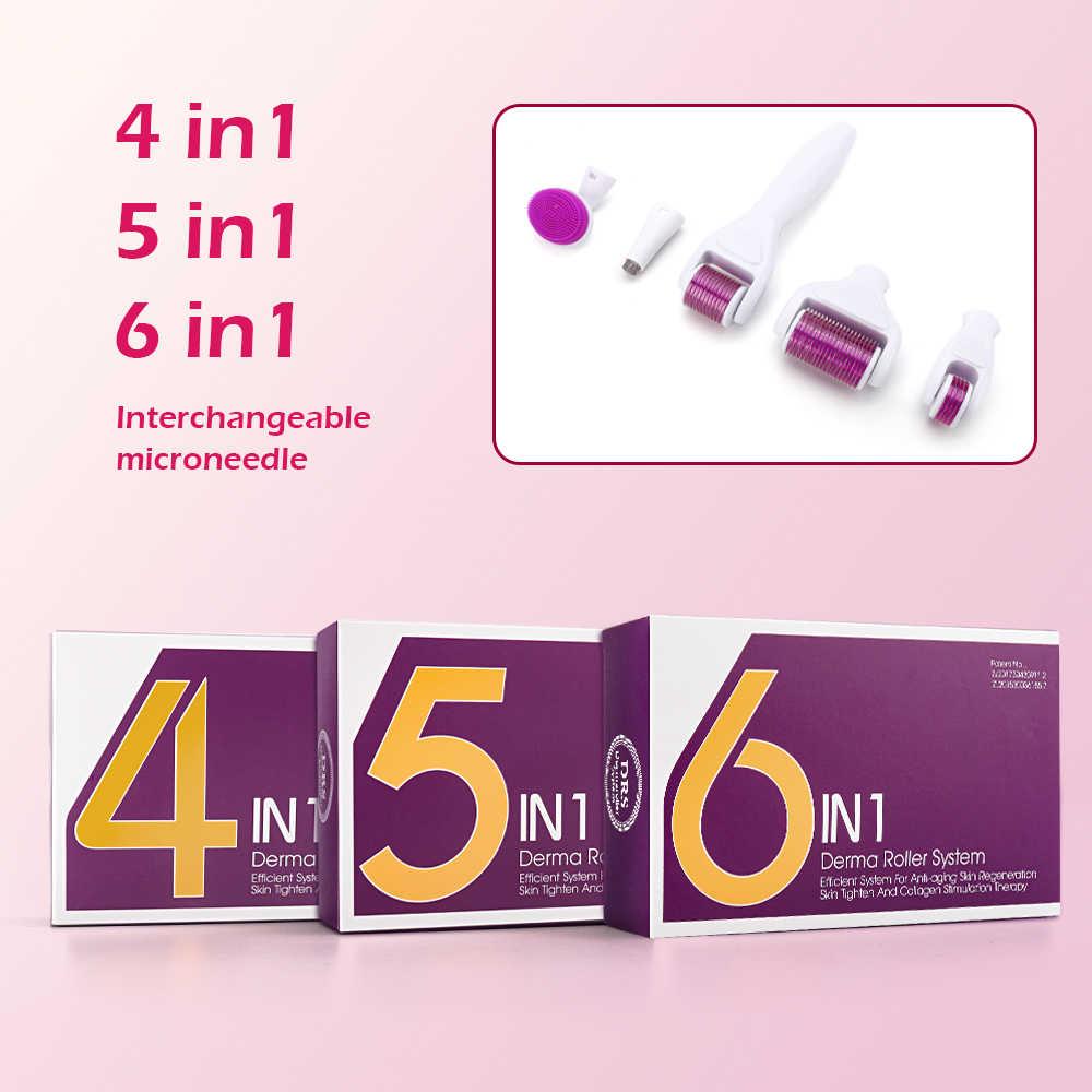 Derma rulo mikro iğne rulo kiti mikro iğneler titanyum Microneedle Mezoroller makinesi cilt bakımı ve vücut tedavisi