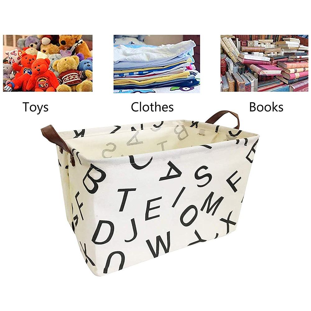 CYSINCOS Childrens Toy Home Sundries Storage Bucket Household Waterproof Collapsible Storage Basket Bathroom Cotton Linen Hamper