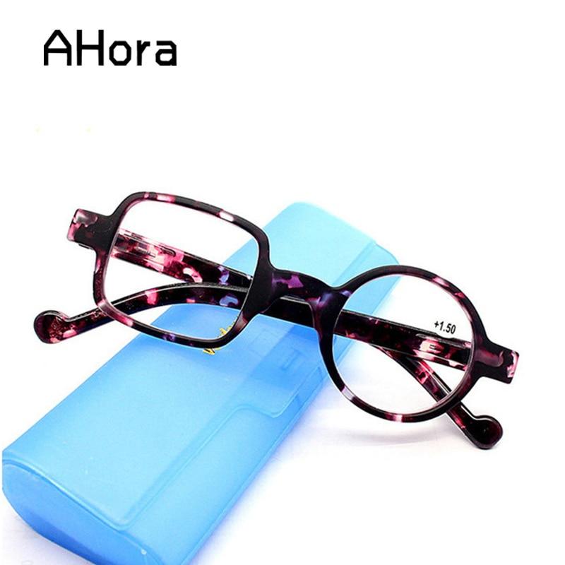 Ahora Metal yuvarlak okuma gözlüğü kadınlar ve erkekler şeffaf Lens presbiyopi gözlük hipermetrop gözlük diyoptri + 1.0 ila 4.0