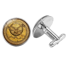 Hot! 2019 Super New Retro Mysterious Map Cufflinks Glass Convex Silver Mens Gift Jewelry