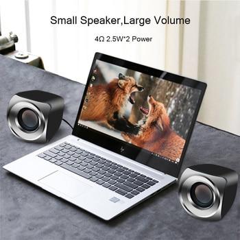 AUX Mini Computer Speakers USB Powered Wired 1 Pair Bass Stereo Speakers for Laptop Desktop Phone 2.5W*2 Powerful Loudspeaker 2