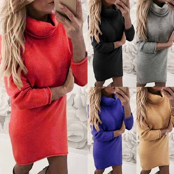Sfit Turtleneck Long Sleeve Sweater Dress Women Autumn Winter Loose Tunic Knitted Casual Pink Gray Clothes Solid Dresses image