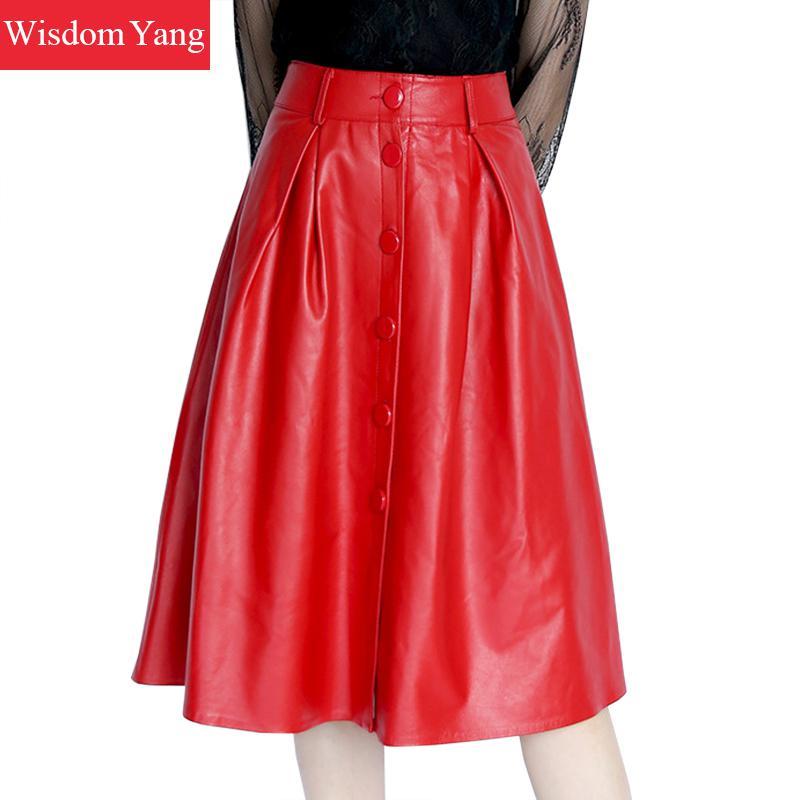 Autumn Genuine Leather Sheepskin Long Skirt High Waist Midi Skirts Womens Red Black Korean Party Sexy Casual Ladies Aline Skirt