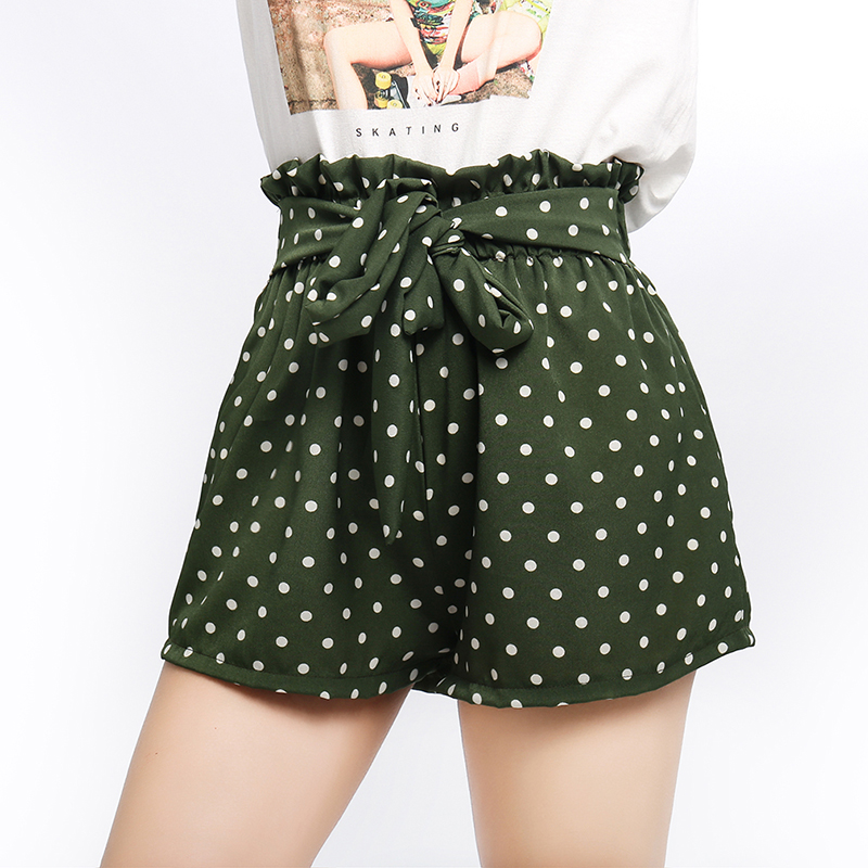 Women Summer Chiffon   Shorts   Retro Polka Dot Print   Short   Trousers Sexy Ladies Casual   Shorts   High Waist Ruffles   Shorts