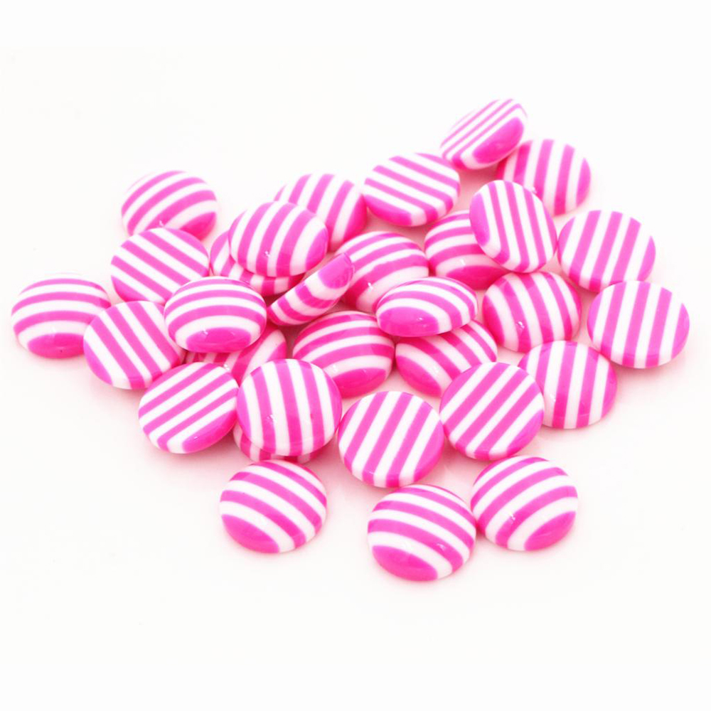 New Fashion 40pcs 12mm White Pink Colors Stripe Style Flat Back Resin Cabochons Fit 12mm Cameo Base Cabochons-W3-12