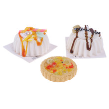 Hot sale 1:12 Dollhouse Miniature Food Pizza Chocolate Cakes Doll House Accessories Model(China)