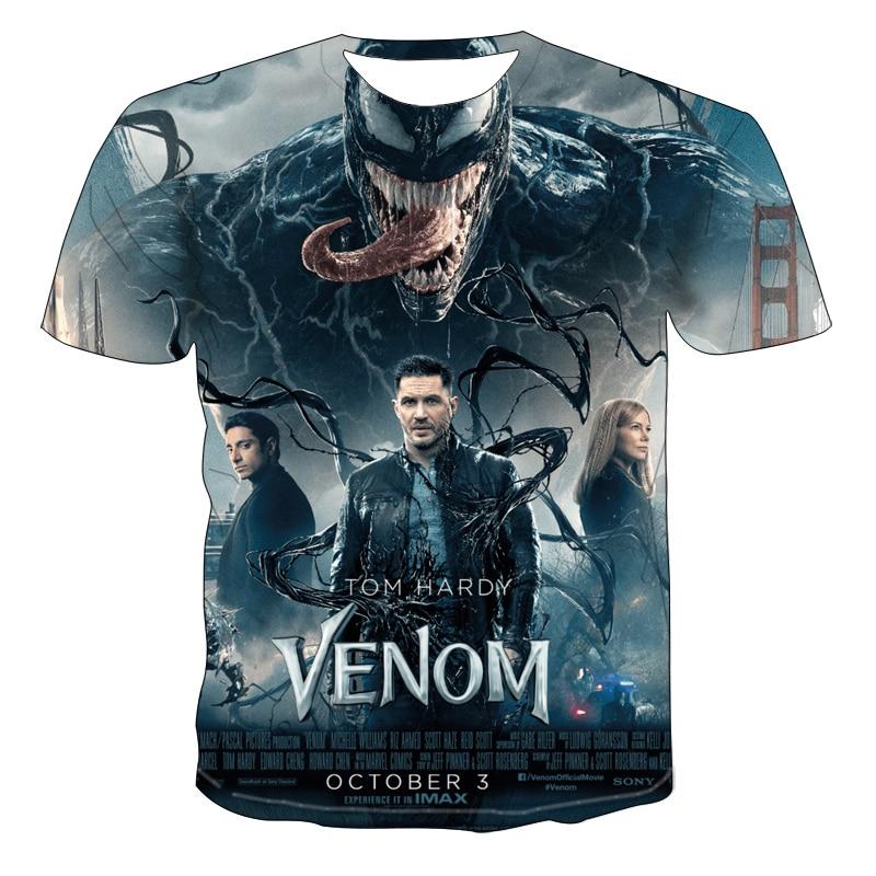 2020 New Men's 3D T Shirt Summer Fashion Print Venom Short-sleeved T-shirt Round Neck Quick-drying Casual T-shirt Hip Hop Tops