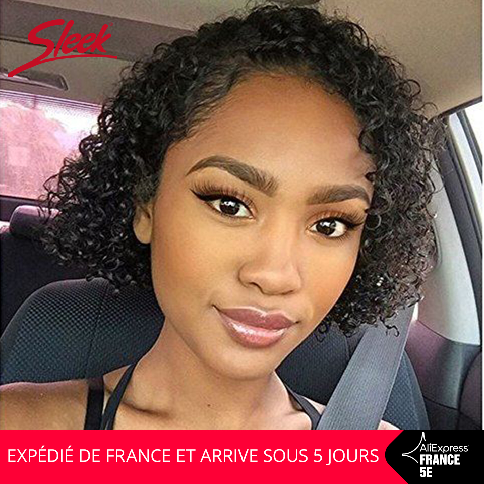 Sleek Perruque Cheveux Humain Short Loose Curly Wigs 10 Inch Short 150% Density Natural Color Human Hair Wigs In France Fast