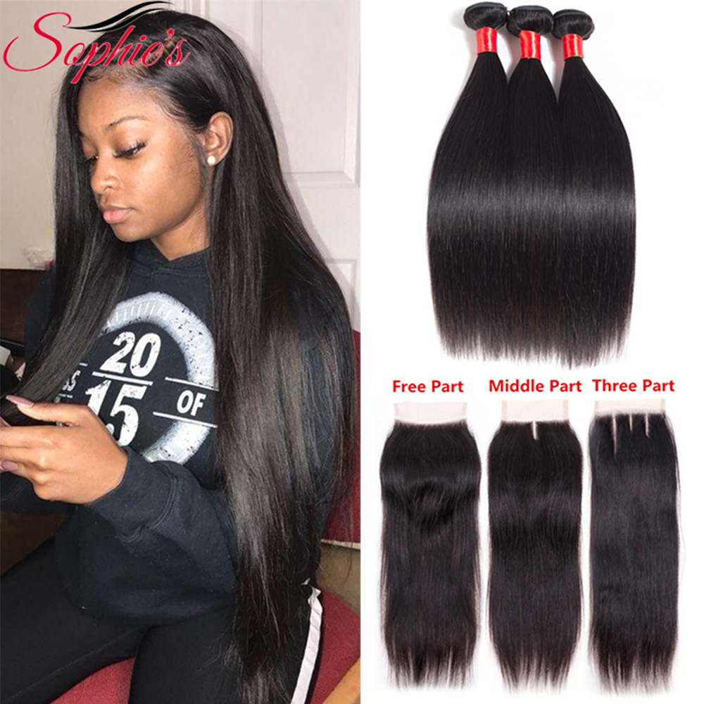 Sophie's Straight Bundles With Closure Brazilian Hair Weave Bundles Non-Remy Human Hair Bundles With Closure Extension