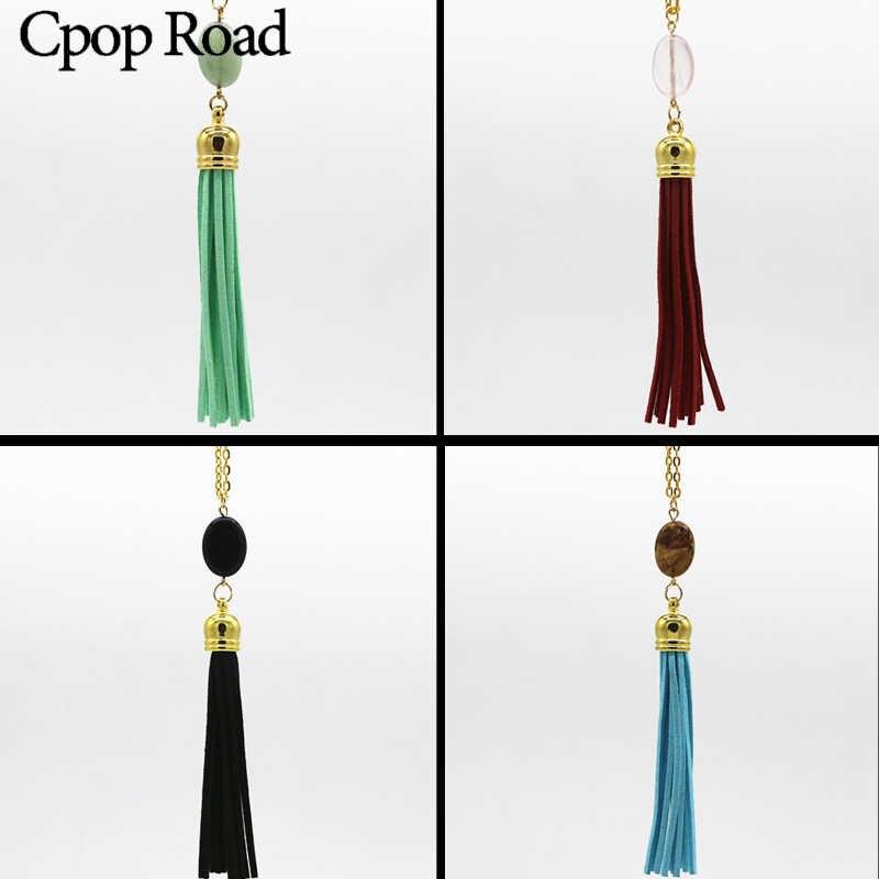 Cpop nowy etniczny natura kamień skórzany Tassel naszyjnik i wisiorki długie eleganckie kobiety akcesoria do biżuterii typu statement gorąca sprzedaż prezentów