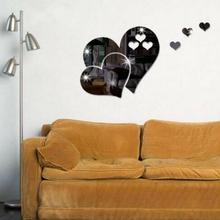 цены new 3D Mirror Love Heart Acrylic Wall Sticker Decal Living Room Art Mural Decor Wall Decal Love Heart Shape Home Decor Removable
