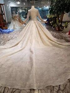 Image 2 - BGW HT43019 יוקרה חתונה שמלה עם ארוך רכבת תחרה נצנצים מבריק בעבודת יד חתונה שמלת ארוך שרוולים מוסלמי שמלה