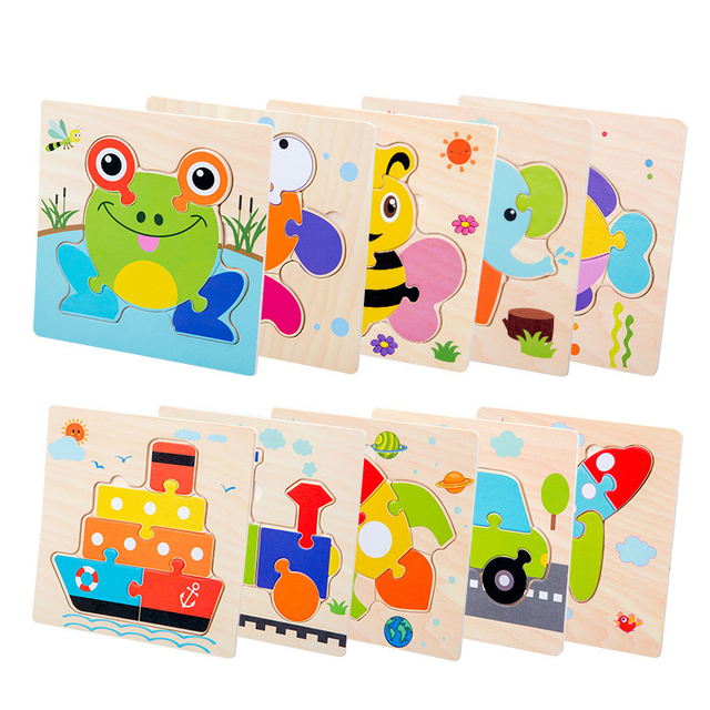 Baby Toys Wooden 3d Puzzle Tangram Shapes Learning Cartoon Animal Intelligence Jigsaw Puzzle Toys For Children Educational 3