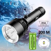Luz de buceo profesional XHP70.2, linterna LED subacuática impermeable IPX8, 200 metros, 18650/26650