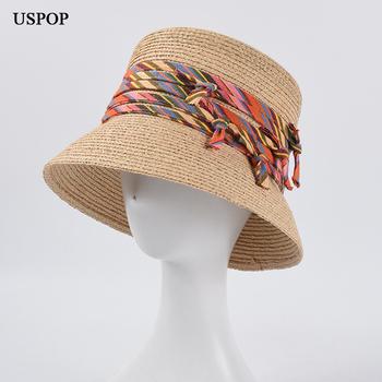 USPOP 2020 najnowsze damskie kapelusze przeciwsłoneczne letnie rafia kapelusze przeciwsłoneczne damskie kapelusze plażowe styl wakacyjny szerokie rondo kapelusze słomkowe tanie i dobre opinie Dla dorosłych WOMEN Sun kapelusze LLZ- SU20280 Na co dzień Patchwork