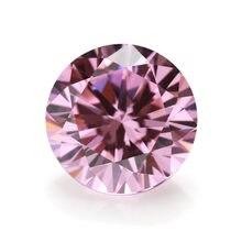 Diamante de 0,5-5 quilates de corte brillante redondo de alta calidad, probado pasado, piedra moissanita rosa, cuentas sueltas de gemas, fabricación de joyas DIY