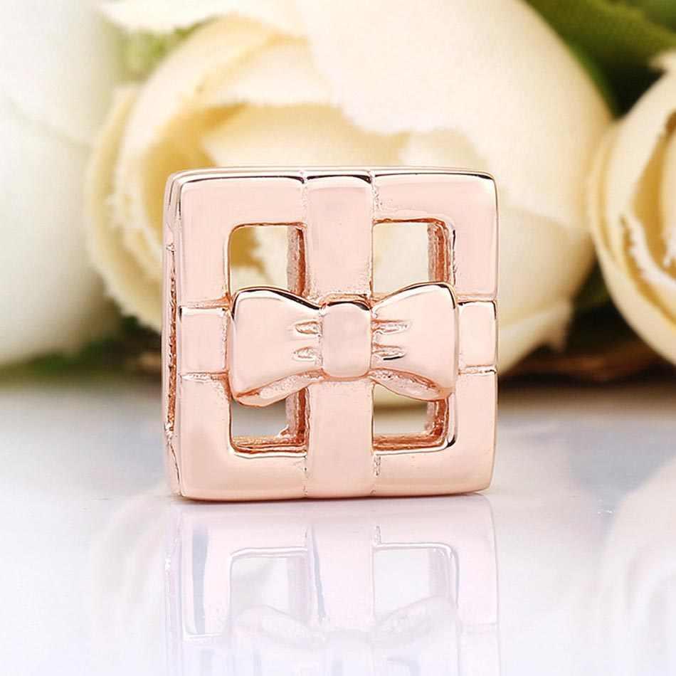 Oryginalne różowe złoto refleksje prezent klip korek blokady koraliki Fit 925 Sterling Silver Charm bransoletka pandora bransoletka biżuteria zrób to sam