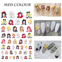 1 Pcs New design with the same cartoon animal manicure sticker bear rabbit and princess nail paste manicure decal