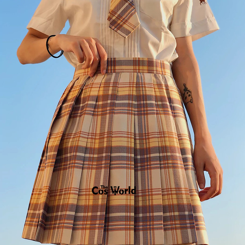 [Yamabuki] Girl's Japanese Summer High Waist Pleated Skirt Plaid Skirts Women Dress For JK School Uniform Students Cloths