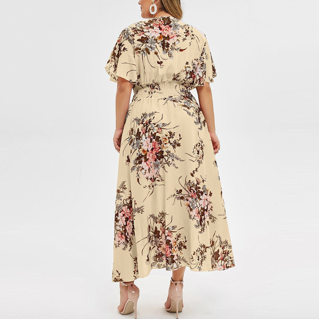 Plus Size Floral Printed V-Neck Short Sleeve Casual Dress 3