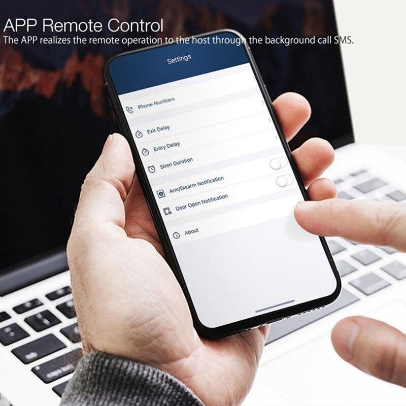 Bezprzewodowy dotykowy GSM alarm bezpieczeństwa w domu z APP RFID SMS Voice Auto Dial wykrywanie ruchu włamywacz intruz czujnik dymu pożarowego Panel