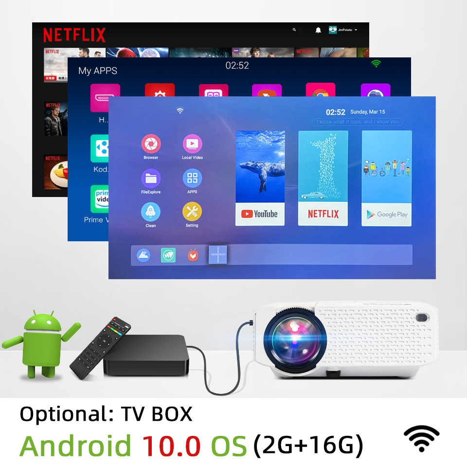 BYINTEK C520 2020 último Mini proyector, LED portátil para teléfono móvil 1080P 3D 4K cine en casa (opcional Android 10 TV Box)