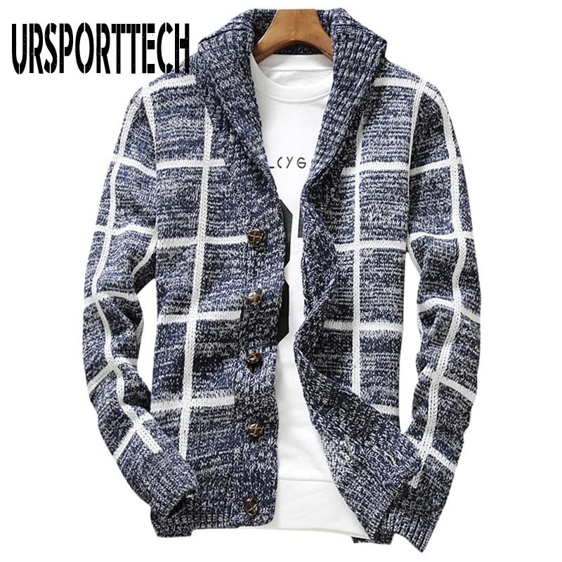 URSPORTTECH Sweater Men Plaid Cardigan Coat Men Autumn Knitted Sweater Coats Knitting Jumper Slim Fit Pull Homme Plus Size XXL