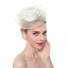 Women Feathers Tea Party Fascinator Hat Wedding Elegant Mesh With Clip Headband Cocktail Hair Accessories Bridal Headwear Y826