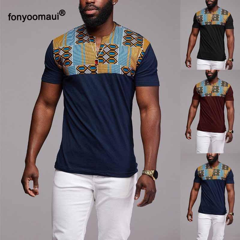 S-5XL Kente T-Shirt African Print Tops For Men New Fashion Short Sleeve V Cut Neck Male Slim Tees Shirt Streetwear Plus Size