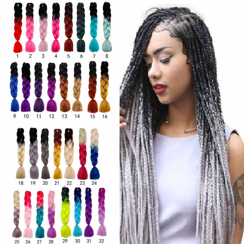 30 Colors 60CM Women Jumbo Crochet Braiding Ombre Color Synthetic Kanekalon Hair Extensions Long Straight Ombre Grey Hair Piece