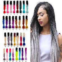 30 kolorów 60CM kobiety Jumbo szydełka oplot kolor Ombre syntetyczne Kanekalon przedłużanie włosów długie proste Ombre szare włosy tanie tanio Oplatarce 244043