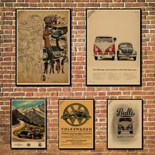 Cartel Vintage de Volkswagen/nostálgico/cartel de papel kraft/bar Café bar decorado p003