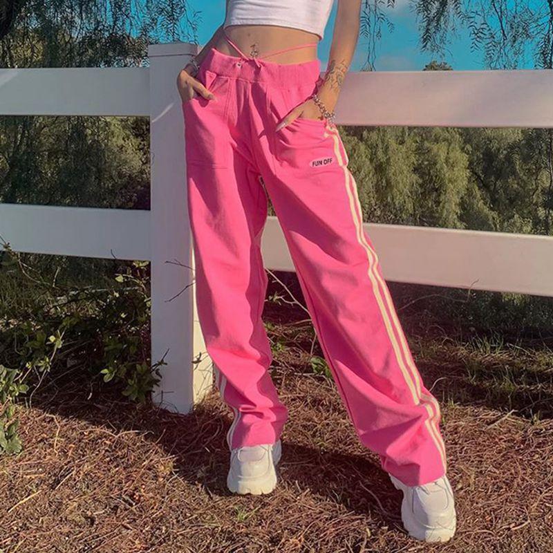 SEASONS Letter Print Ribbens Casual Long Trousers Ladies Pink Baggy Sweatpants Women High Waist Pants Capris 2020 ASPA81424
