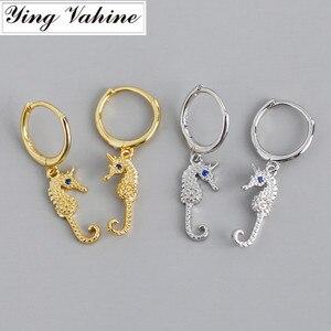 Ying Vahine, 100% Стерлинговое Серебро 925 пробы, животные, маленькая морская лошадь, кулон, серьги-гвоздики для женщин