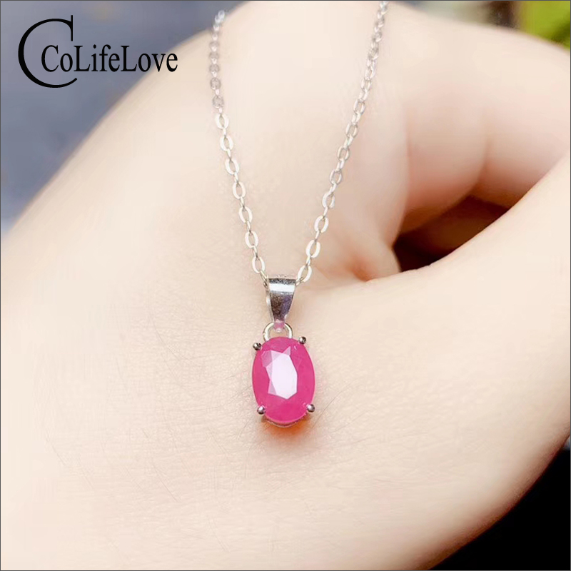 CoLife Jewelry Ruby Pendant For Daily Wear 5mm*7mm I Grade Natural Ruby Silver Pendant 925 Silver Ruby Jewelry For Office Woman